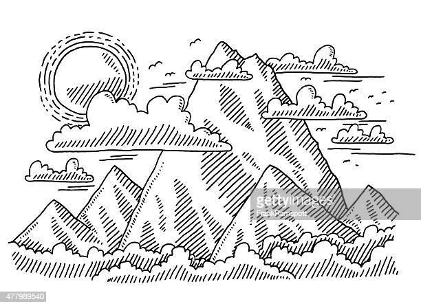 ilustraciones, imágenes clip art, dibujos animados e iconos de stock de paisaje de montaña de dibujo - grupo de animales