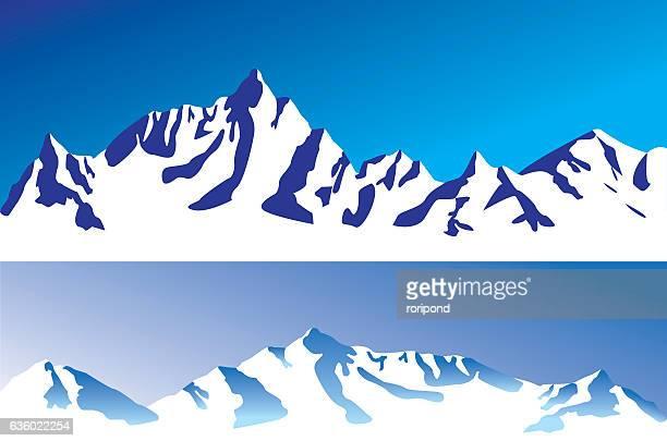 ilustrações de stock, clip art, desenhos animados e ícones de cordilheira - coberto de neve