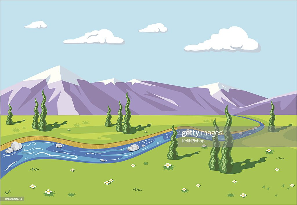 Mountain Range with River or Stream Background : Vectorkunst