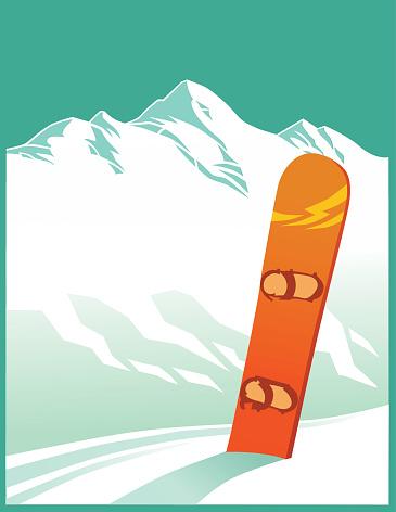 Mountain Range with Ski Board - Copy Space - gettyimageskorea