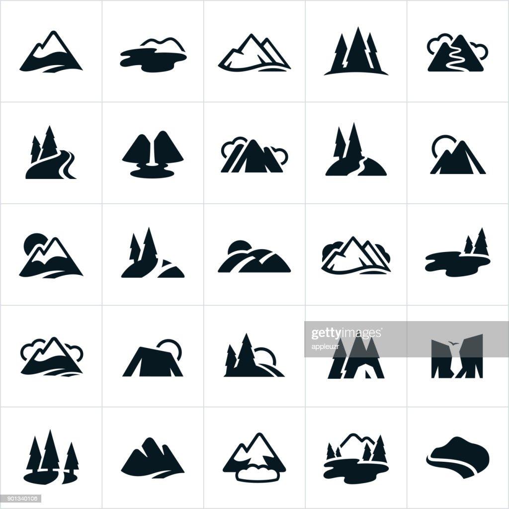 Bergketens, heuvels en Water manieren pictogrammen : Stockillustraties