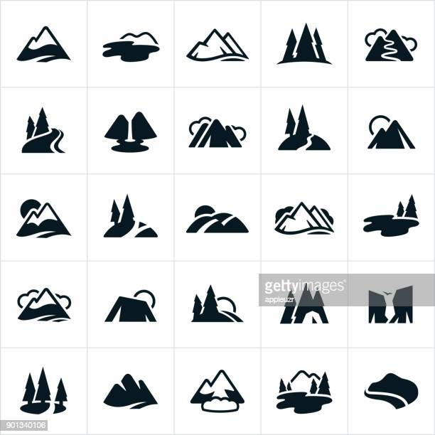 mountain ranges, hills and water ways icons - tree stock illustrations