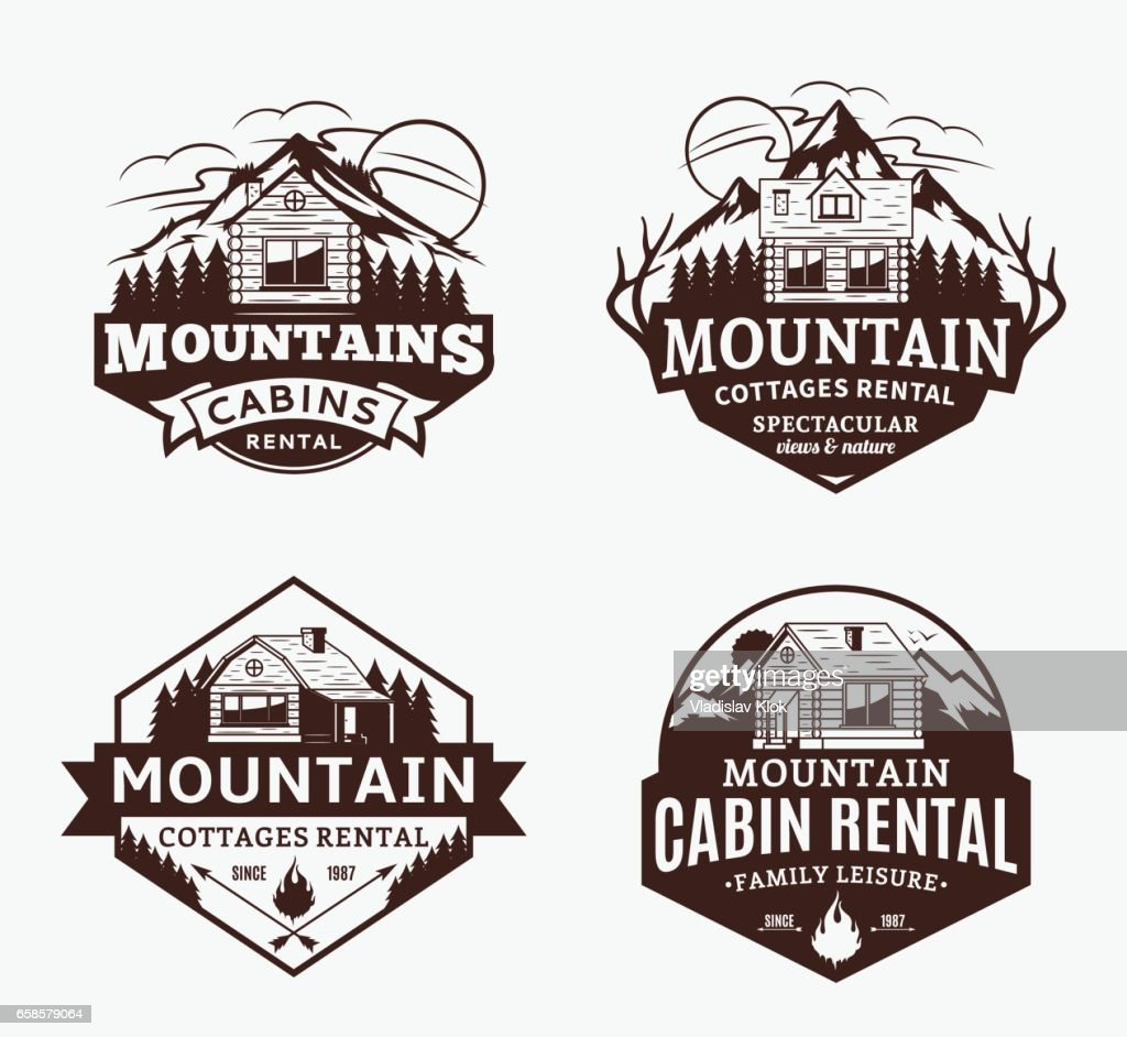 Mountain recreation and cabin rentals labels