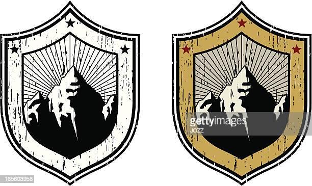 mountain retro insignia - mountain logo stock illustrations