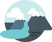 mountain river lake icon badge vector