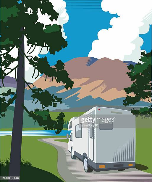 Mountain road and motorhome