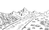 Mountain road graphic black white landscape sketch illustration vector