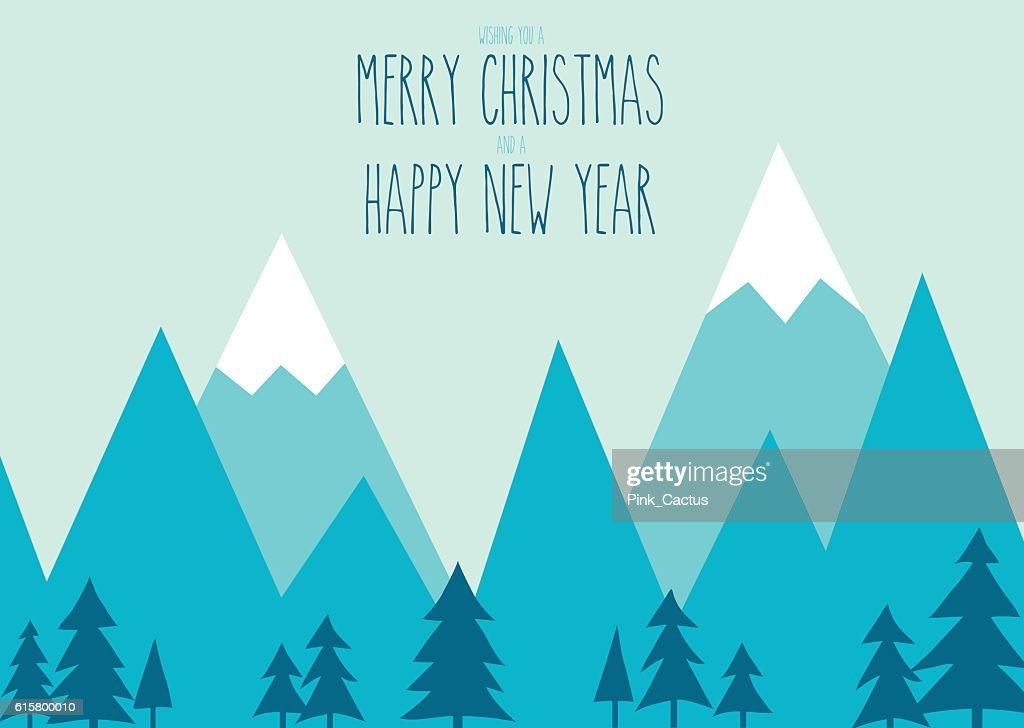 Mountain Scene Illustration with Christmas Message.