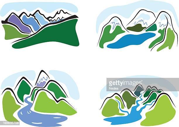 mountain-zeichnungen set - alpen stock-grafiken, -clipart, -cartoons und -symbole