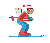 Mountain Skiing Man Riding on Winter Forest