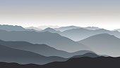 Mountain smoky morning landscape.Outdoor vector background.