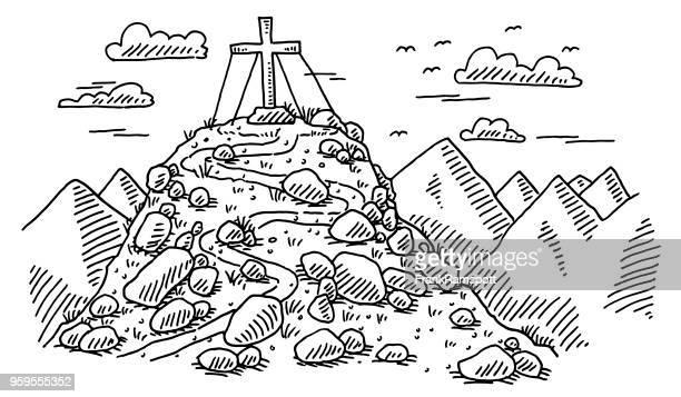 berg gipfelkreuz alpen zeichnung - alpen stock-grafiken, -clipart, -cartoons und -symbole