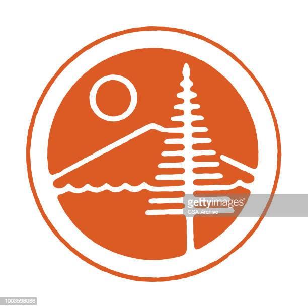 mountain sun and tree - mountain logo stock illustrations