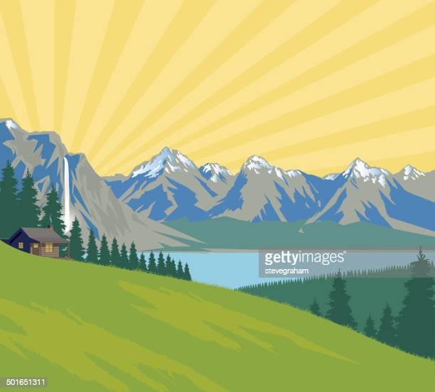 mountain sunrise andlake - waterfall stock illustrations, clip art, cartoons, & icons