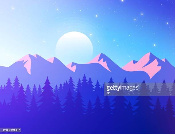 mountain sunset landscape - colorado stock illustrations