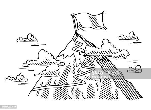 mountain top 小道国旗の描出 - 冒険点のイラスト素材/クリップアート素材/マンガ素材/アイコン素材