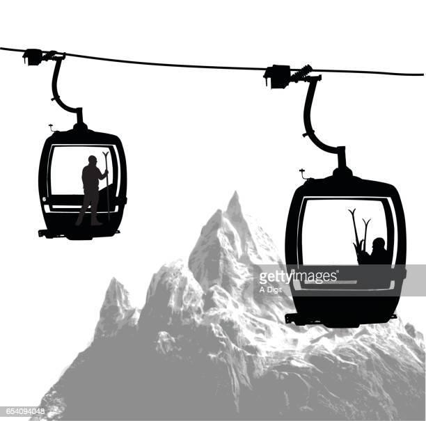 illustrazioni stock, clip art, cartoni animati e icone di tendenza di mountain top gondola - tempo turno sportivo