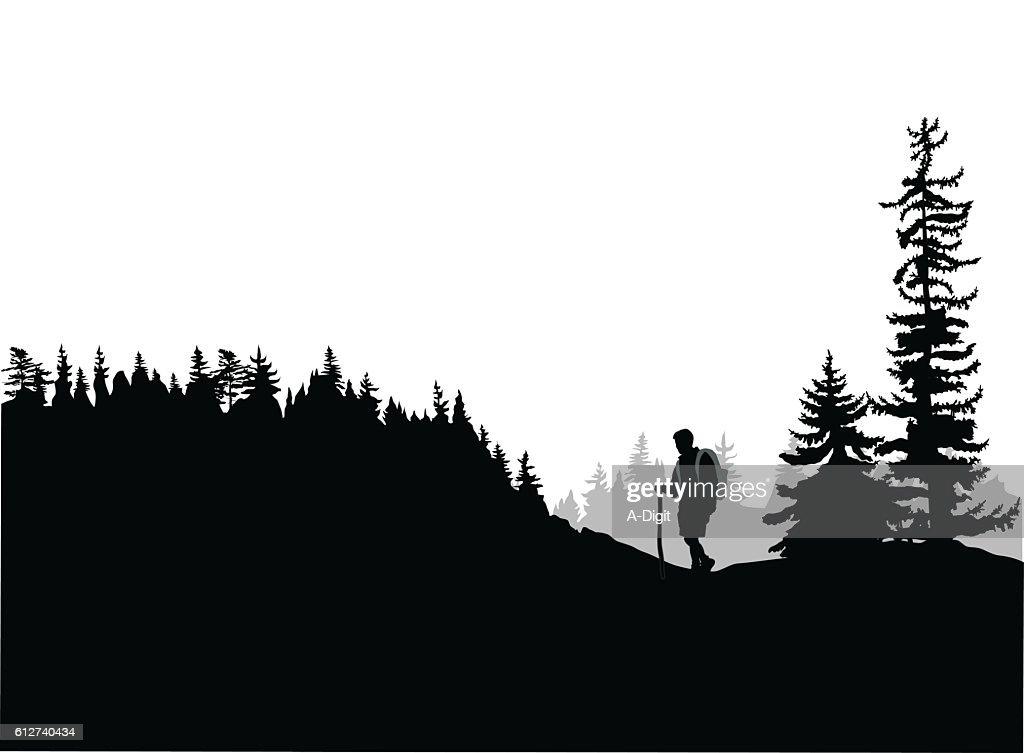 Mountain Top Hiking : Ilustración de stock