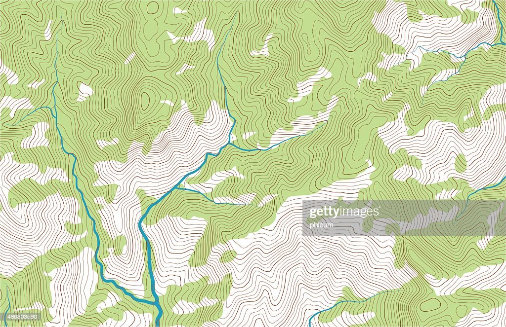 Topographic Map Mountain.Mountain Topographic Map With Forest And Streams Vector Art Getty