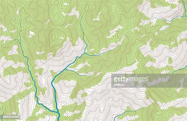stockillustraties, clipart, cartoons en iconen met mountain topographic map with forest and streams - contourlijn