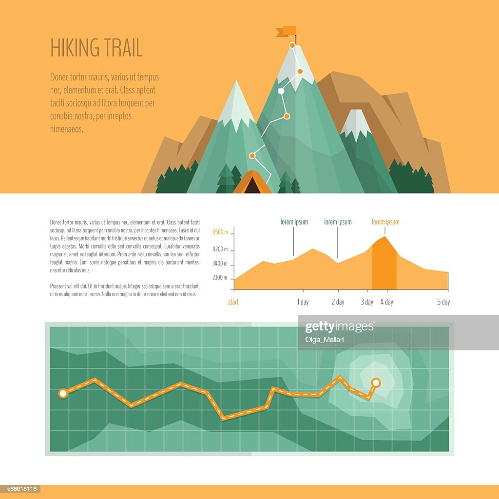 Mountain trekking, hiking, climbing and camping concept.