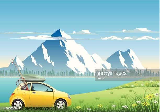 mountain vacations - rod stock illustrations, clip art, cartoons, & icons
