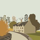 Mountain village background, vector illustration