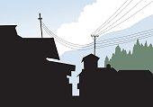 Mountain Village Silhouette