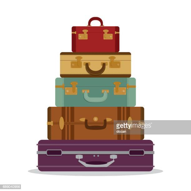 ilustraciones, imágenes clip art, dibujos animados e iconos de stock de montaña vintage valijas - maleta
