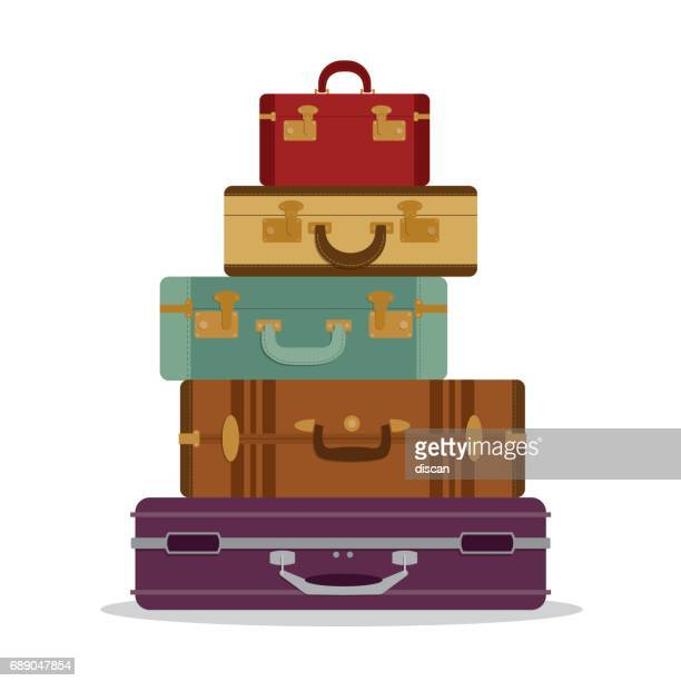 mountain vintage suitcases - luggage tag stock illustrations, clip art, cartoons, & icons