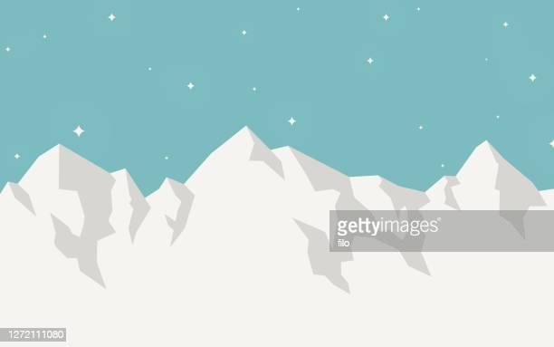 bildbanksillustrationer, clip art samt tecknat material och ikoner med mountain vinterlandskap bakgrund - snötäckt