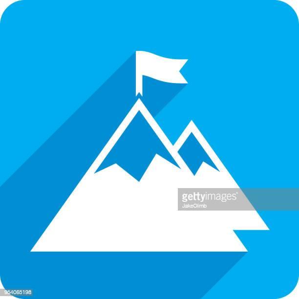 ilustrações, clipart, desenhos animados e ícones de montanha com silhueta de ícone de flag - mountain peak