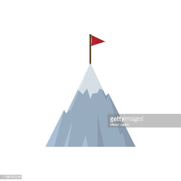 mountain with flag icon - aspirations stock illustrations