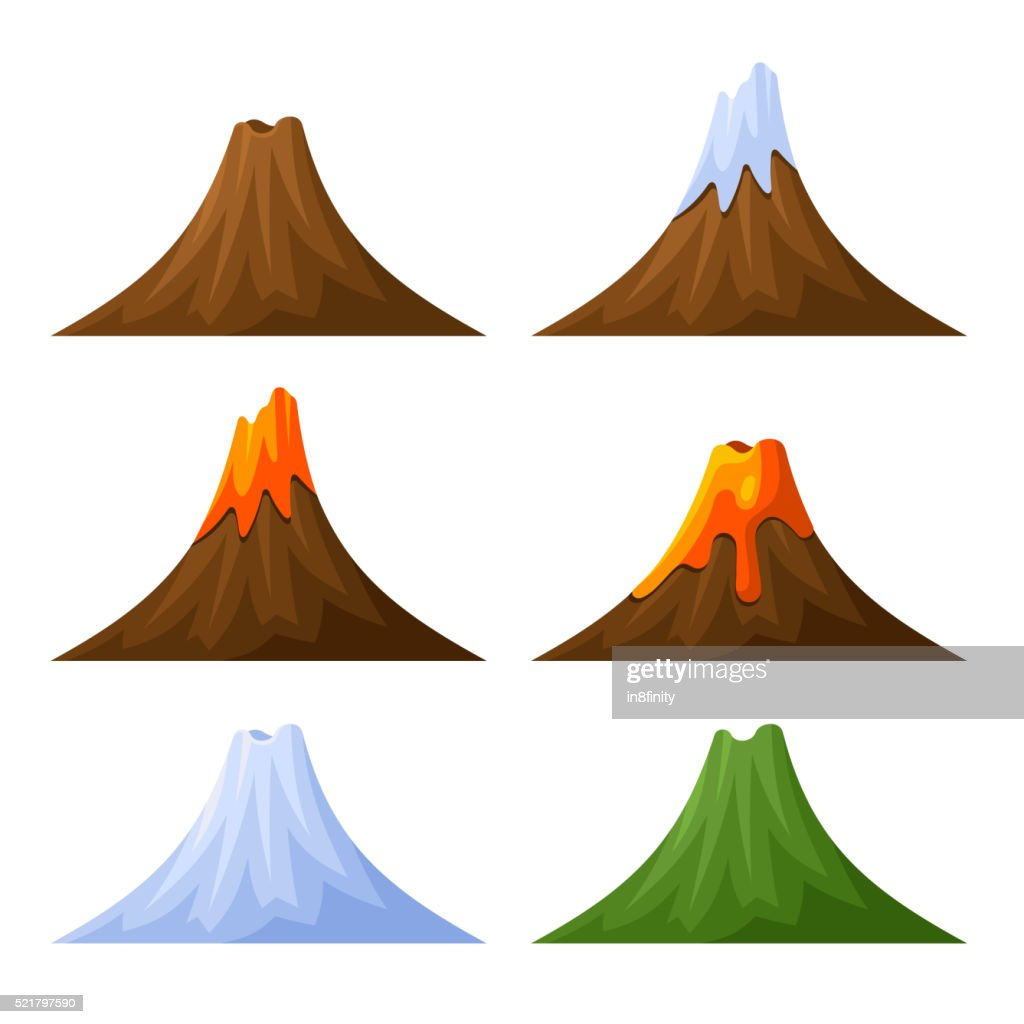 Mountain with Volcano, Forest and Snow Set. Vector