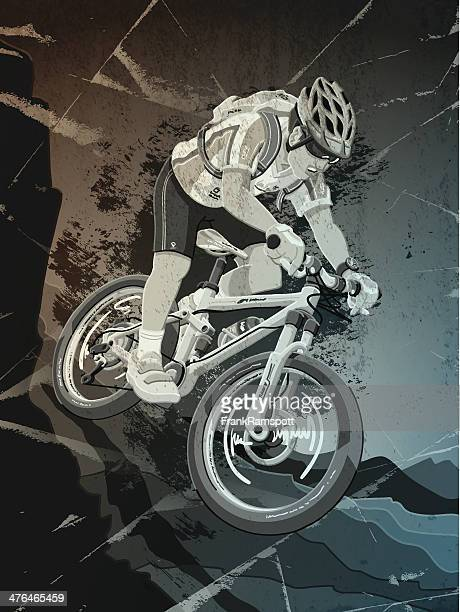 ilustrações de stock, clip art, desenhos animados e ícones de mountainbike acção desportiva grunge monocromático - mountain bike