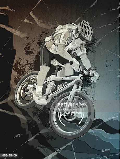 Mountain bike world championships Sports Action Grunge Monochrom