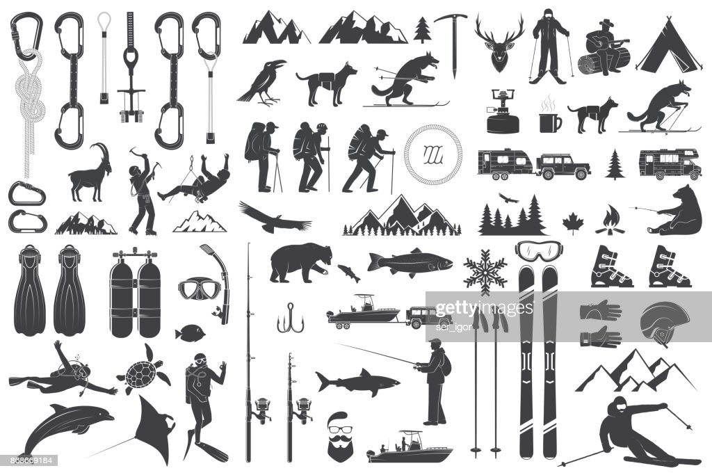 Mountaineering, hiking, climbing, fishing, skiing and other adventure icons