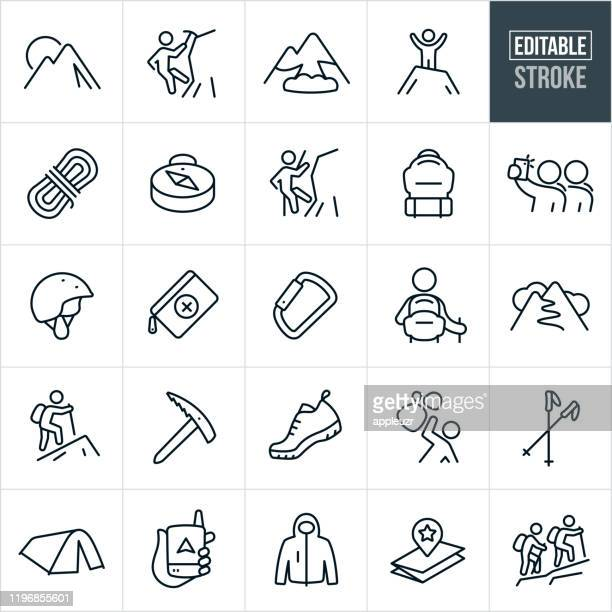 mountaineering thin line icons - editable stroke - climbing stock illustrations