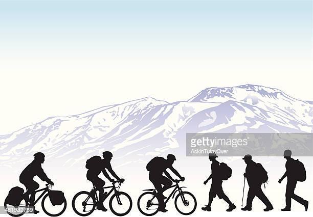 ilustrações de stock, clip art, desenhos animados e ícones de mountaineers - mountain bike