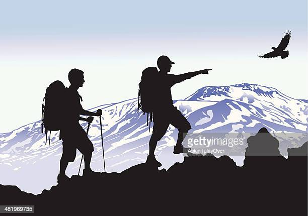 mountaineers - 内陸部の岩柱点のイラスト素材/クリップアート素材/マンガ素材/アイコン素材