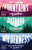 Mountains Adventures Horizontal Banner Set