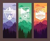 Mountains adventures vertical banner set