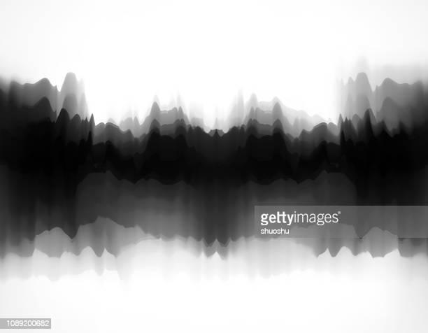 berge und wasser muster hintergrund malen - schwarzweiß bild stock-grafiken, -clipart, -cartoons und -symbole