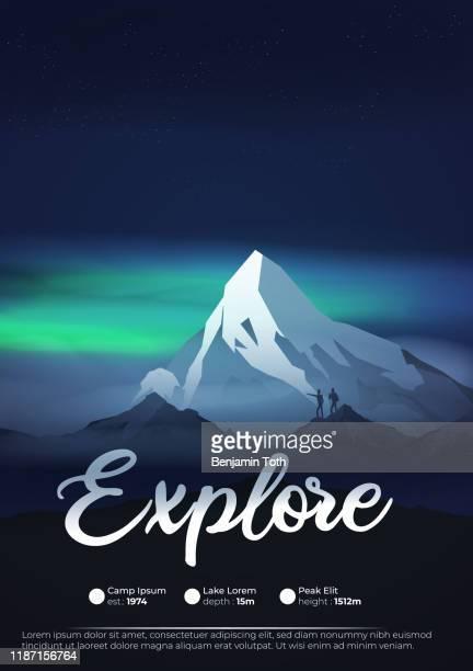 mountains at night with aurora, northern lights exploration adventure flyer - aurora borealis stock illustrations