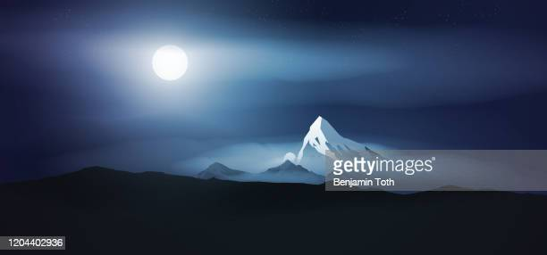 mountains at night with full moon - fog stock illustrations