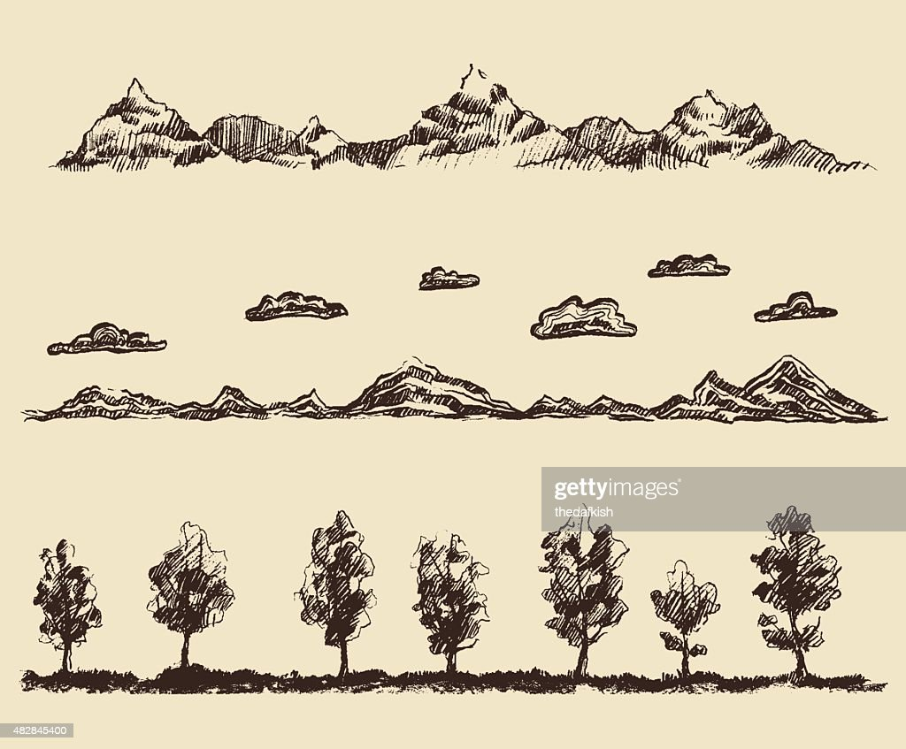 mountains contours clouds forest vector sketch