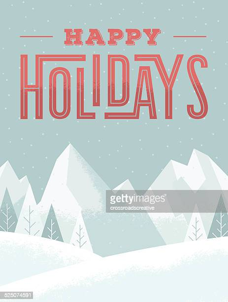 mountains happy holidays - happy holidays stock illustrations, clip art, cartoons, & icons