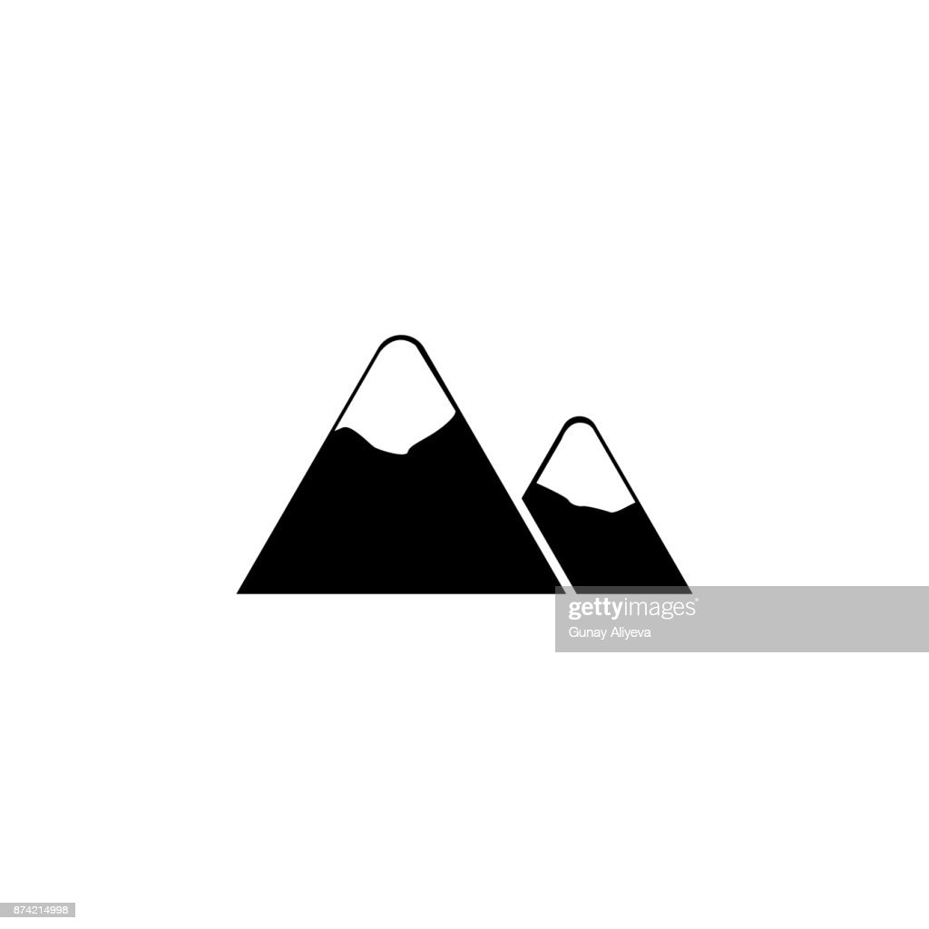 Mountains Icon Winter Element Premium Quality Graphic Design Signs