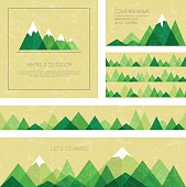 Mountains in geometric style. Set of stylish outdoor card templates.