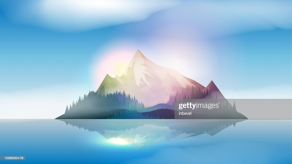 Mountains Island Landscape in the Sea  - Vector Illustration